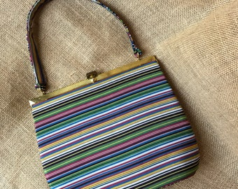 Vintage 1950's Charles Originals Satin Striped Handbag