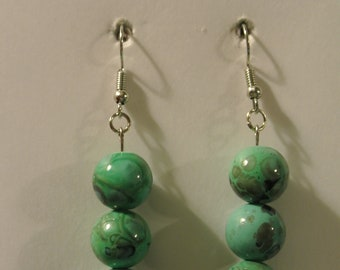 Three Green Beads with Silver Fishhook