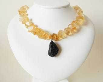 Necklace with pendant citrine necklace tektite pendant faceted citrine Nuggets pearl necklace