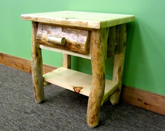 Rustic Log Nightstand with Shelf