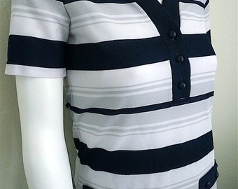 Vintage Apparel Ladies 60's Jantzen, Shirt, Short Sleeve, Striped, White, Navy Blue 3411 FreshandSwanky on Etsy
