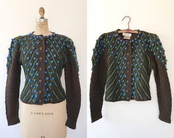 vintage cardigan / vintage Wolken Stricker sweater / Bluebells Sweater