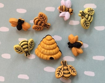 """SALE Bee Buttons, Packaged Novelty Button Assortment, """"Buzzin Around"""" Style 4253 by Buttons Galore, Package Includes Bees and Hives"""
