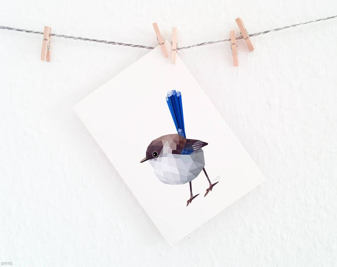 Superb fairy wren print, Fairy wren painting, Blue bird painting, Contemporary animal art, Australian birds, Wall decor, Australian wren art