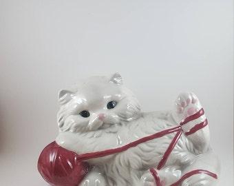 Large Kitten with Yarn Cat Figurine
