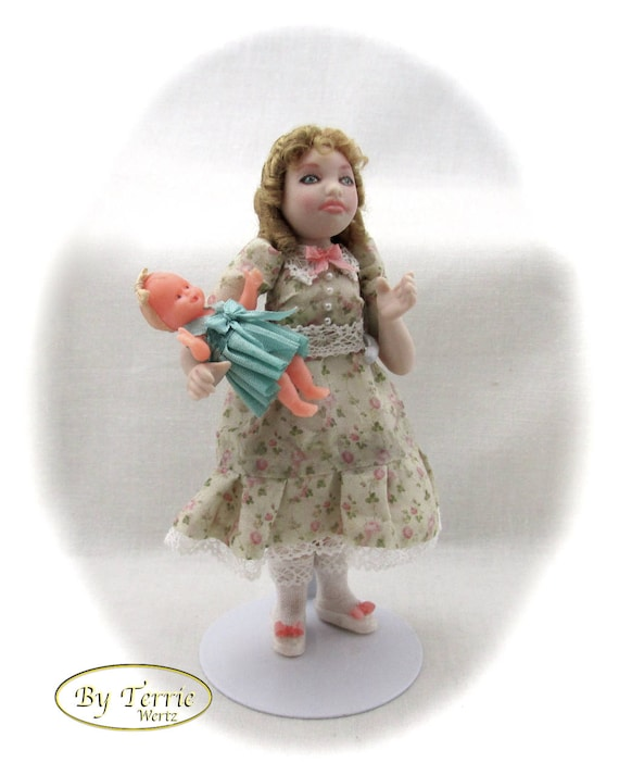 Dollhouse Doll LITTLE GIRL With Dolly Porcelain Miniature Doll 1:12 Scale