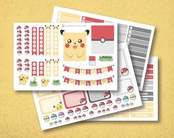 Pokemon ce planificateur de Stickers, autocollants planificateur mat ou brillant, autocollants de planificateur de vie, erin condren filofax, mambi planificateur heureux