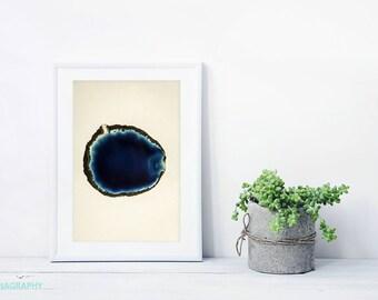 Agate Slice Art Print // Deep Blue Abstract Print for a modern home // Gem and Mineral Art Print // Blue and Deep Blue Geode Art