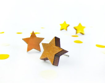 Star earrings | Stud earrings | Small studs | Wooden earrings | Wood jewellery | 5th anniversary gift | Star jewelry | Gift for her