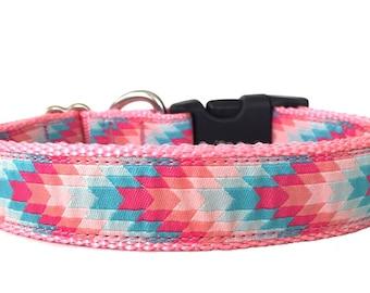 Pink Chevron Ribbon Dog Collar