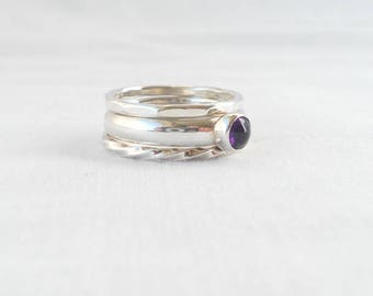 Size R - Set of 3 stacking rings - sterling silver rings with 5mm amethyst cabochon