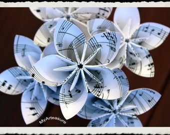 Sheet music paper flower with stem
