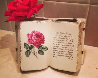 Vintage Vase Lord's Prayer with Rose