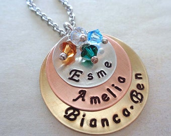 Mothers day Necklace - Personalized Names Necklace with Birthstones - Mixed Metals Custom Names - Hand stamped Jewelry - Gift for Mom - S133
