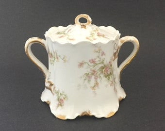 Antique Haviland Porcelain Sugar Bowl w Handles Lid Limoges France Dining Decor