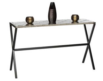 Console Table Entryway Hallway Table with Woven Stainless Steel Top and Black Cross Legs