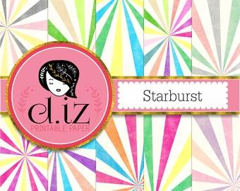 Starburst digital paper 10 starburst backgrounds in brights and pastel colors, vintage starburst