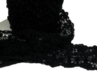 "2 Yards Black Rigid Lace 3"" wide (T101B-2)"