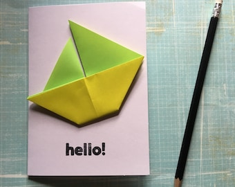 Origami greeting card - green and yellow sailing boat 'hello'