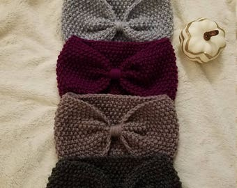 Knit Bow Headband, Customizable colors, Earwarmer, Winter Headband