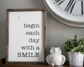 begin each day with a smile. 19.5 x 13.5 distressed wood sign, black & white sign, nursery sign, kids room sign,  gallery wall sign