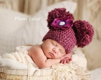 Crochet Double Pom Pom Hat, Crochet Baby Hat, Newborn Girl Hat, Baby Pom Pom Hat, Baby Double Pom Pom Beanie, Newborn Photography Prop