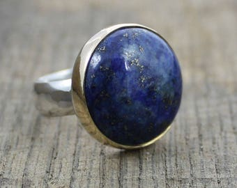 Bright Blue Lapis Lazuli with Pyrite Inclusions - Sterling and Brass Cocktail Ring - MADE TO ORDER in your size