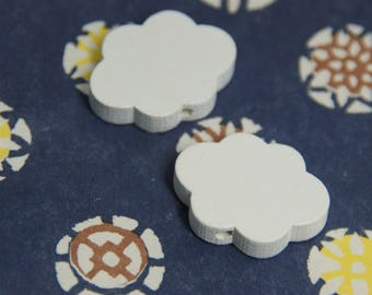 2 white cloud 22x16x5mm wooden beads
