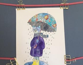 Rain Cat Original Watercolor with ink