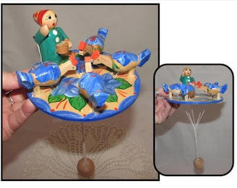 Vintage Animated Wooden Toy - Chicken Pecking game - Woman feeding chicks
