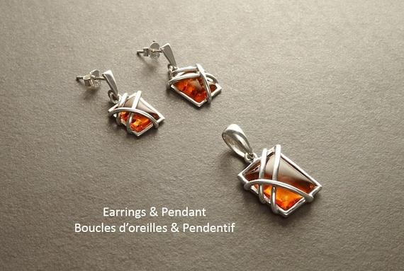 Genuine Amber Set, Sterling Silver 925, Earrings and Pendant Set, Minimalist Square Shape Form,Amber Gemstone Jewelry,Modern Design Filigree