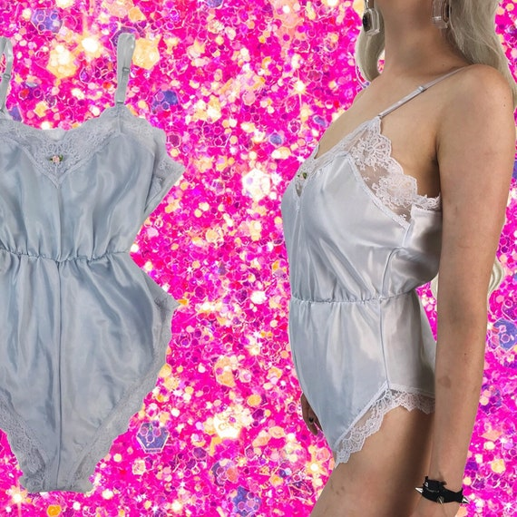 80's One Piece Lace Lingerie Romper Sleepwear S/M - Pastel Powder Blue Lingerie Camisole Sleep/Lounge Lingerie - Eighties VTG Onesie Nighty