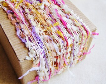 Strawberry, Persimmon and Lavender Confetti Ribbon and Pom Garland- 5 yards