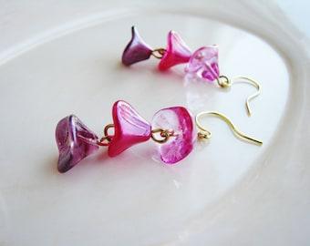 Pink Ombre Earrings, Bell Flower Earrings, Czech Glass Flower Earrings, Pink Earrings, Purple Earrings, Botanical Earrings