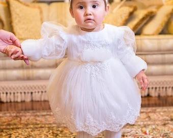 """Ivory Tutu Dress For Girls """"Little Angel"""", Winter Snowflake Dress, Ivory Elegant Dress for Girls, Flower Girl Tutu Dress, Baby Tulle Dress"""