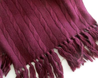 vintage Nordstrom's wool and angora scarf- maroon, cable knit, Made in Germany, warm, winter