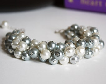 Grey Pearl Bracelet Cluster Bracelet Chunky Bracelet Bridesmaid Bracelet Bridesmaid Gift for Her Wedding Jewelry on a Budget Mother of Groom