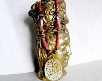 Carved Jade Necklace Vintage Carnelian African Trade Beads Freshwater Pearls Jasper Metaphysical Healing Stones