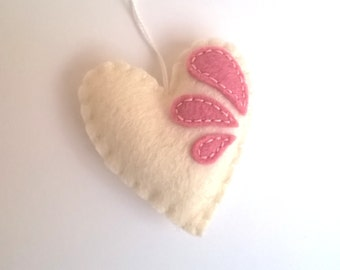 felt heart Christmas ornament pink and white gift for her Valentine's day Birthday Love Baby It's a girl home decor Housewarming home decor