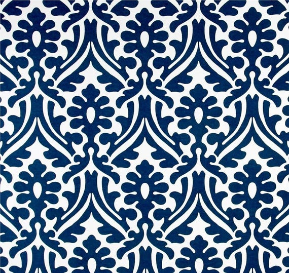 Outdoor or Indoor Damask Print Navy and White Fabric by the