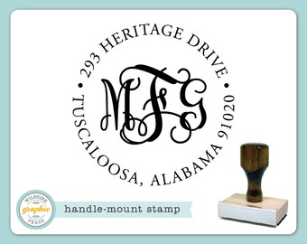 Handle Mount Stamp - INTERLOCKING MONOGRAM ADDRESS Style - Personalized Stamp - Perfect Wedding Housewarming Bridal Shower Gift