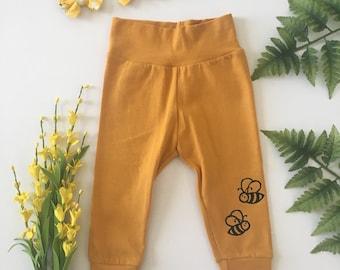 Bumble Bee Baby Leggings | Toddler Leggings | Mustard Leggings