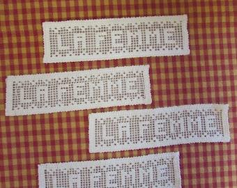 Cotton lace crochet women (4) Pieces, Vintage Applique cushion - doily-frameable, VTG Rare lace Applique