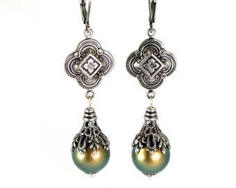 Quatrefoil Earrings in Antiqued Silver Layered Filigree Antique Victorian Renaissance Revival Style Iridescent Green Swarovski Pearls