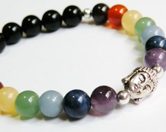 Buddha Chakra Bracelet with Natural Gemstones unisex silver stretch bracelet *FREE SHIPPING USA* 314.5B