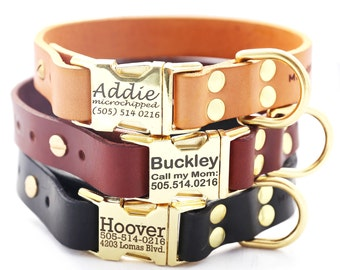 Engraved English Bridle Dog Collar,  Classic Personalized Leather Dog Collar with Brass Buckle, Custom Leather Dog Collar - 3 leather colors