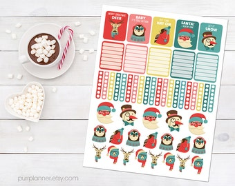 50 Printable hipster Christmas stickers, december winter stickers for use with ERIN CONDREN LIFEPLANNER™, deer hipster animal, Santa sticker