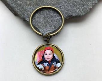 20mm Small Photo Key chain, Memorial Key Chain, key chain, Personalized Key Chain, picture key chain, photo key chain