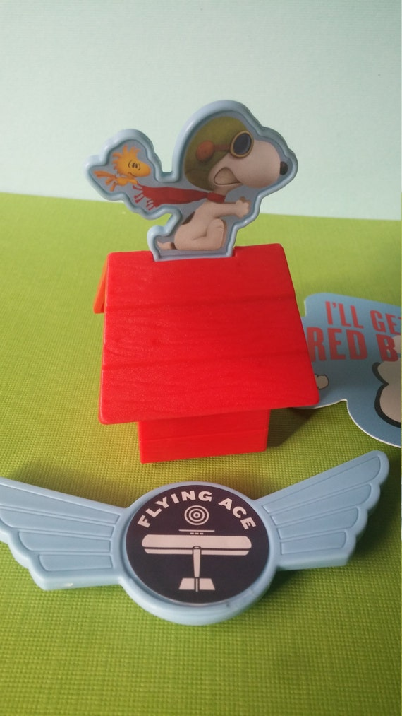 SNOOPY RED BARON Cake Topper cupcake rings pick birthday party