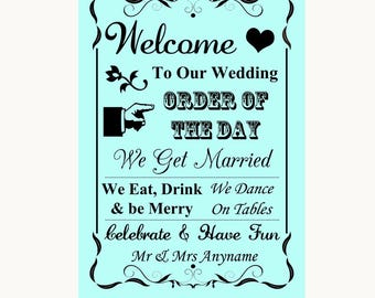 Aqua Welcome Order Of The Day Personalised Wedding Sign